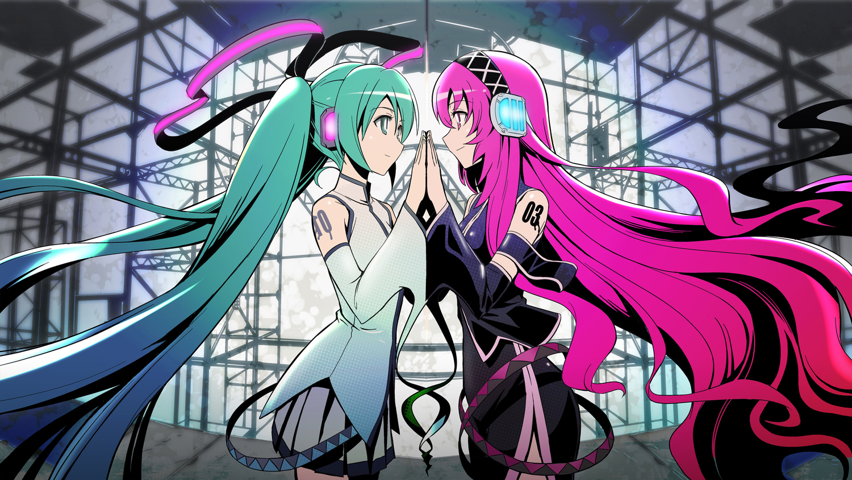 2girls aqua_eyes aqua_hair hatsune_miku headphones long_hair maxgonta megurine_luka pink_hair twintails vocaloid