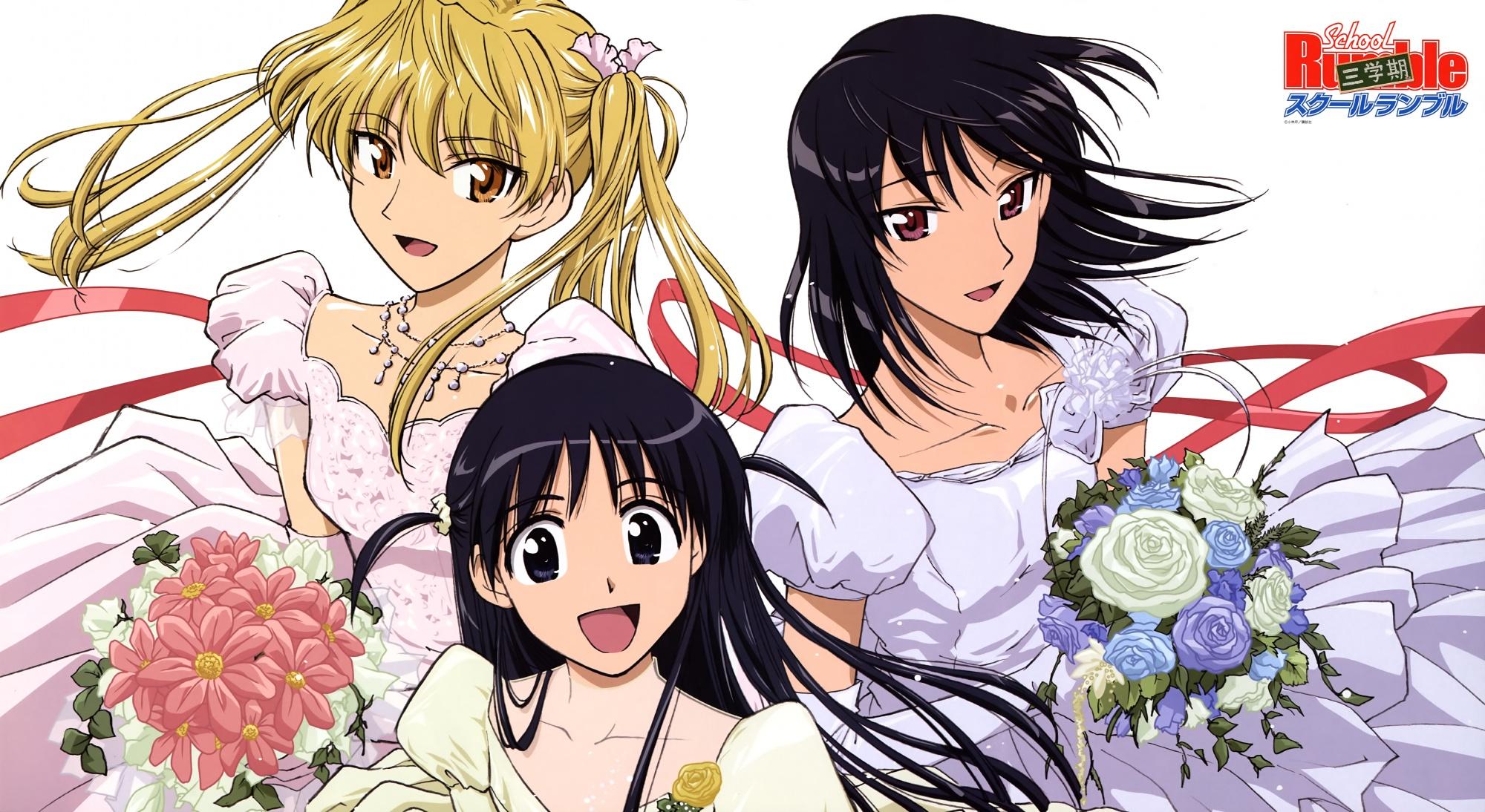 dress sawachika_eri school_rumble tsukamoto_tenma tsukamoto_yakumo wedding_attire