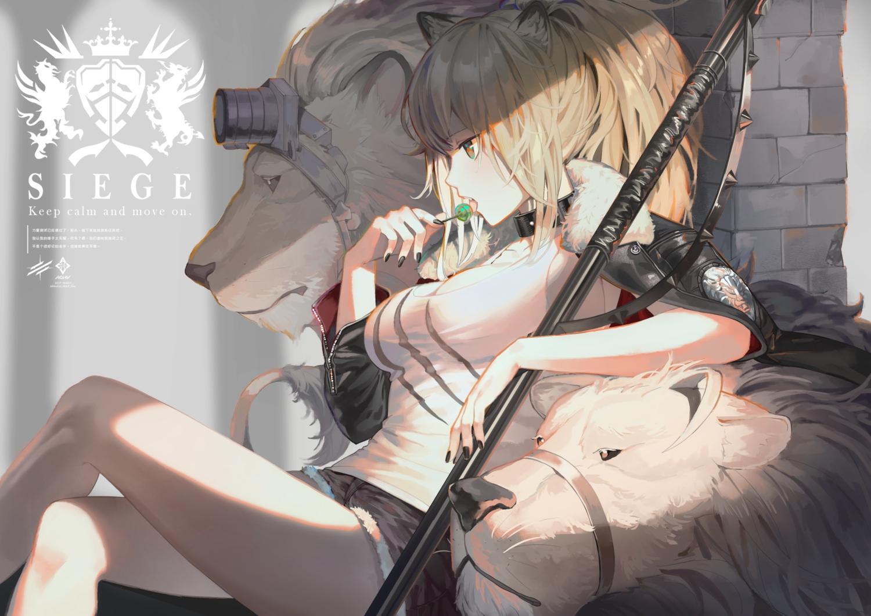 a0lp aliasing animal arknights blonde_hair candy catgirl gun lion lollipop ponytail siege_(arknights) weapon
