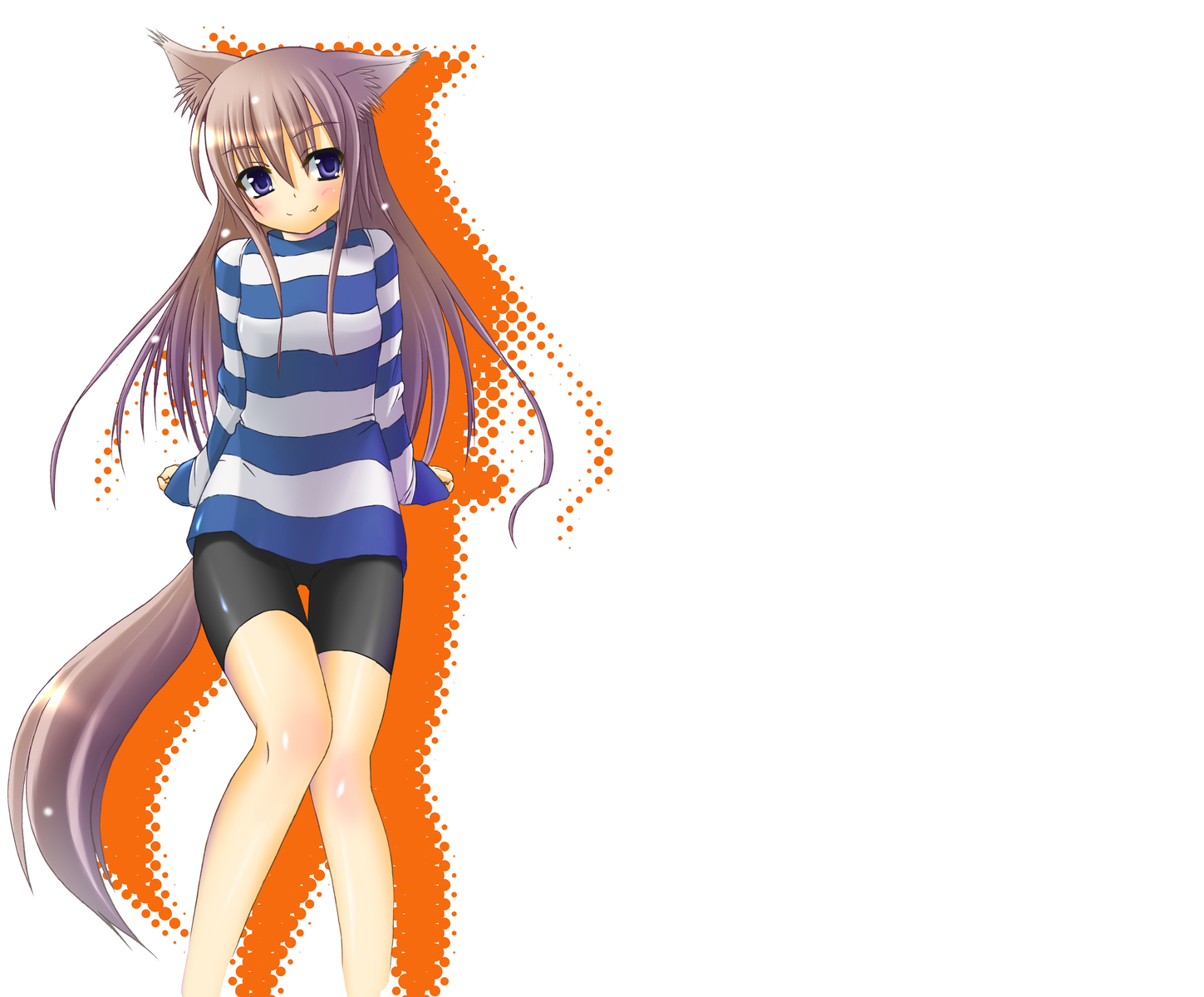 blue_eyes blush doggirl dress fang long_hair mizunoe_kotaru purple_hair tail