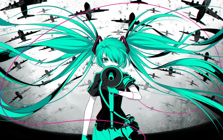 Aircraft Aqua Eyes Aqua Hair Gloves Hatsune Miku Koi Wa Sensou