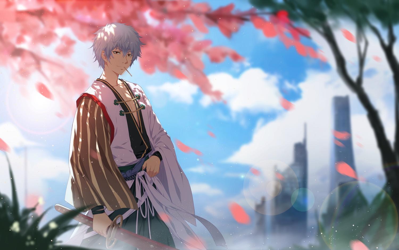 all_male building cangkong clouds gintama gray_hair japanese_clothes male petals red_eyes sakata_gintoki short_hair sword weapon