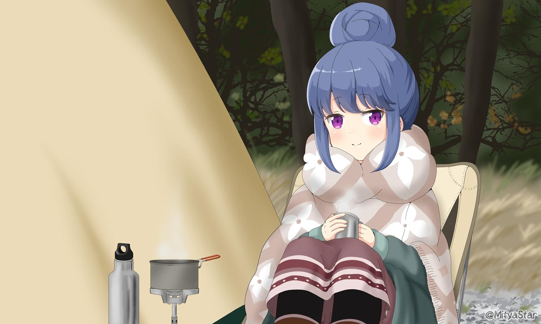 blue_hair drink miicha purple_eyes shima_rin tree waifu2x watermark yuru_camp