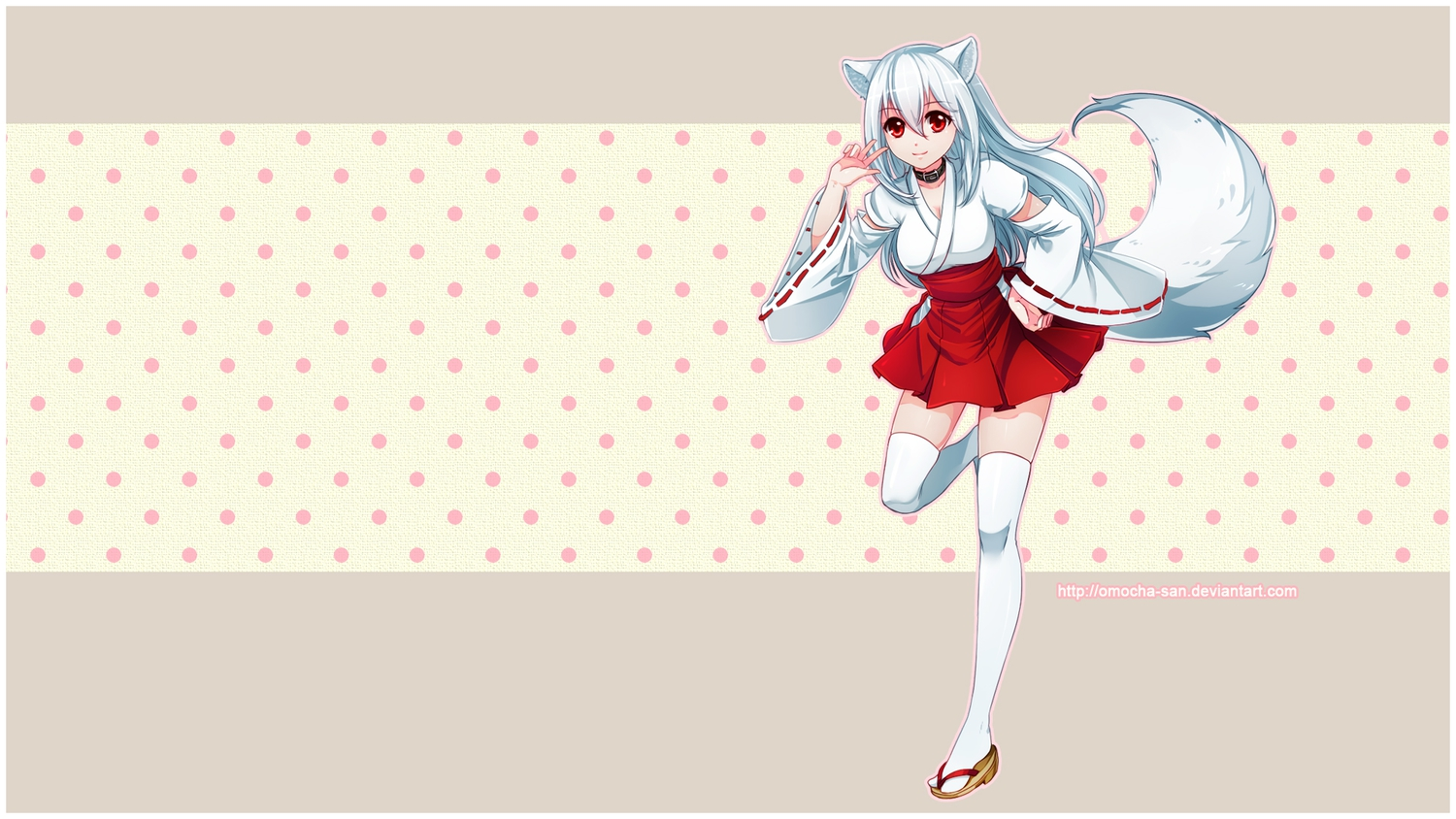 animal_ears breasts cleavage collar foxgirl japanese_clothes kisumi long_hair miko omocha-san original red_eyes tail thighhighs white_hair zettai_ryouiki