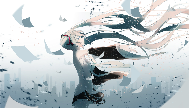 blush building city hatsune_miku long_hair re:rin silhouette skirt tie twintails vocaloid