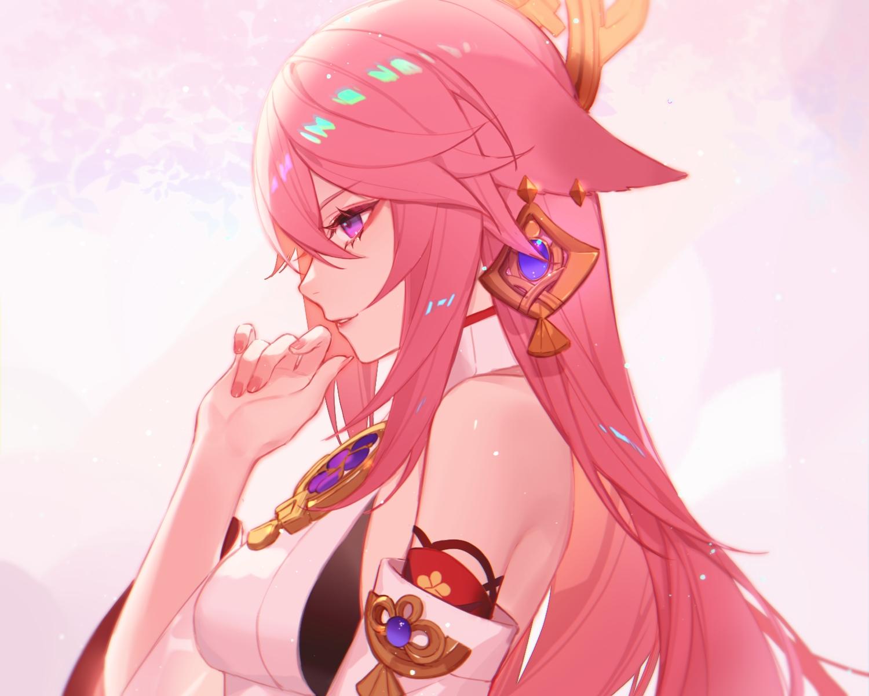 close genshin_impact headdress japanese_clothes jesse_(pixiv34586727) long_hair pink_hair purple_eyes yae_miko
