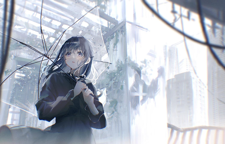 blush building city gothic gray_hair long_hair original oryou polychromatic purple_eyes rain ruins tears umbrella water