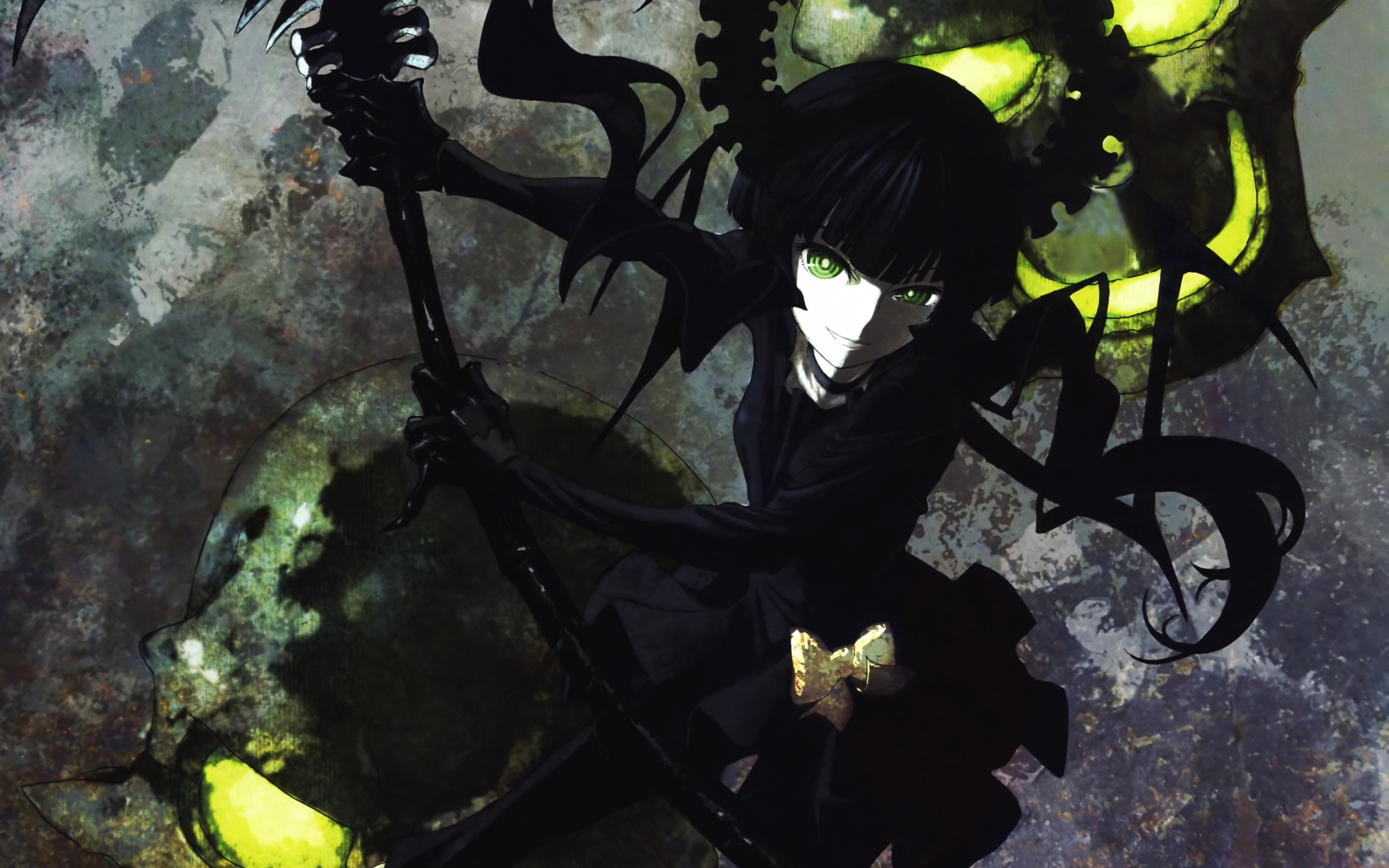 black_hair black_rock_shooter bow dress green_eyes long_hair scythe skull takanashi_yomi weapon