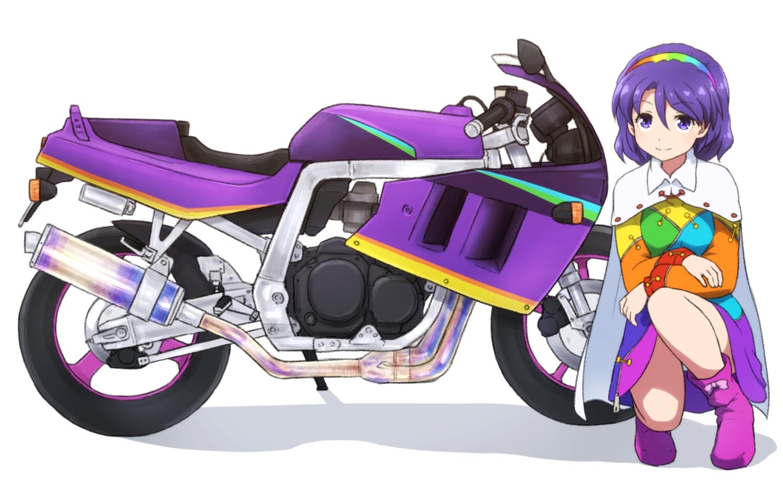 boots cape dress headband motorcycle purple_eyes purple_hair shirosato short_hair tenkyuu_chimata touhou white