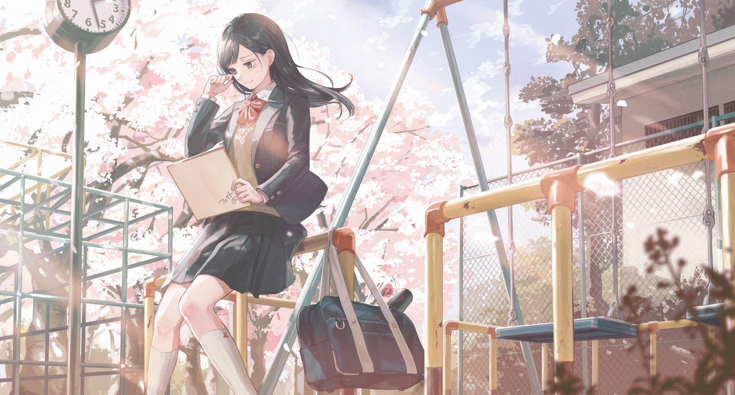 bow building cherry_blossoms clouds crying flowers kneehighs kotatiyu long_hair original park school_uniform skirt sky spring tears tree