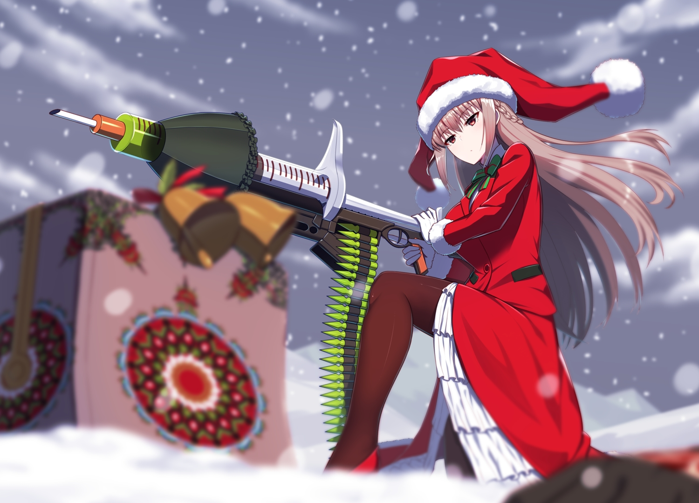 christmas fate/grand_order fate_(series) florence_nightingale gloves gun hat kuroshiro_(ms-2420) long_hair pantyhose pink_hair red_eyes santa_costume santa_hat snow suit weapon