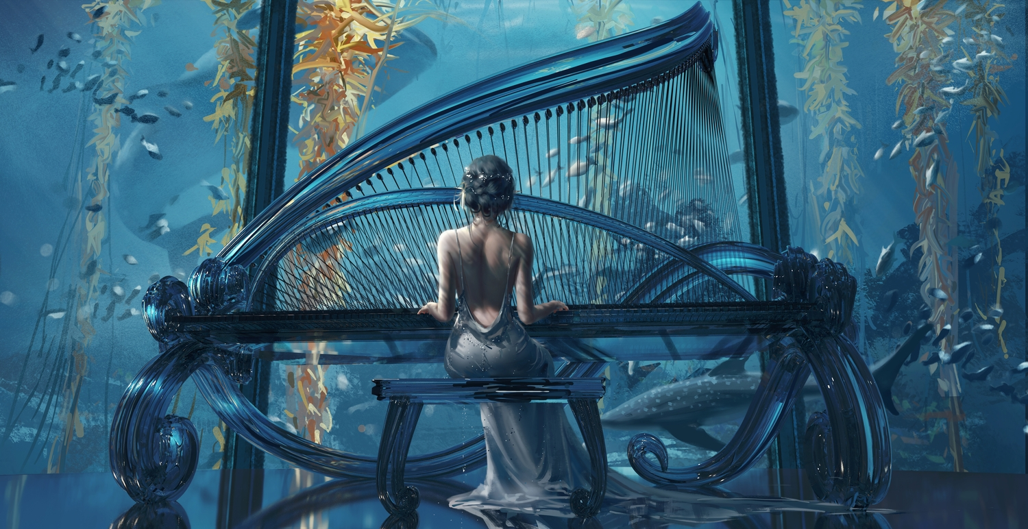 animal dress fish ghostblade gray_hair instrument piano princess_yan realistic reflection short_hair underwater water wlop