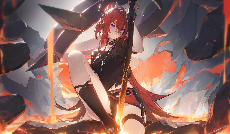 arknights collar horns long_hair necklace panties purple_eyes red_hair skirt spread_legs surtr_(arknights) sword underwear weapon zhiyan_li