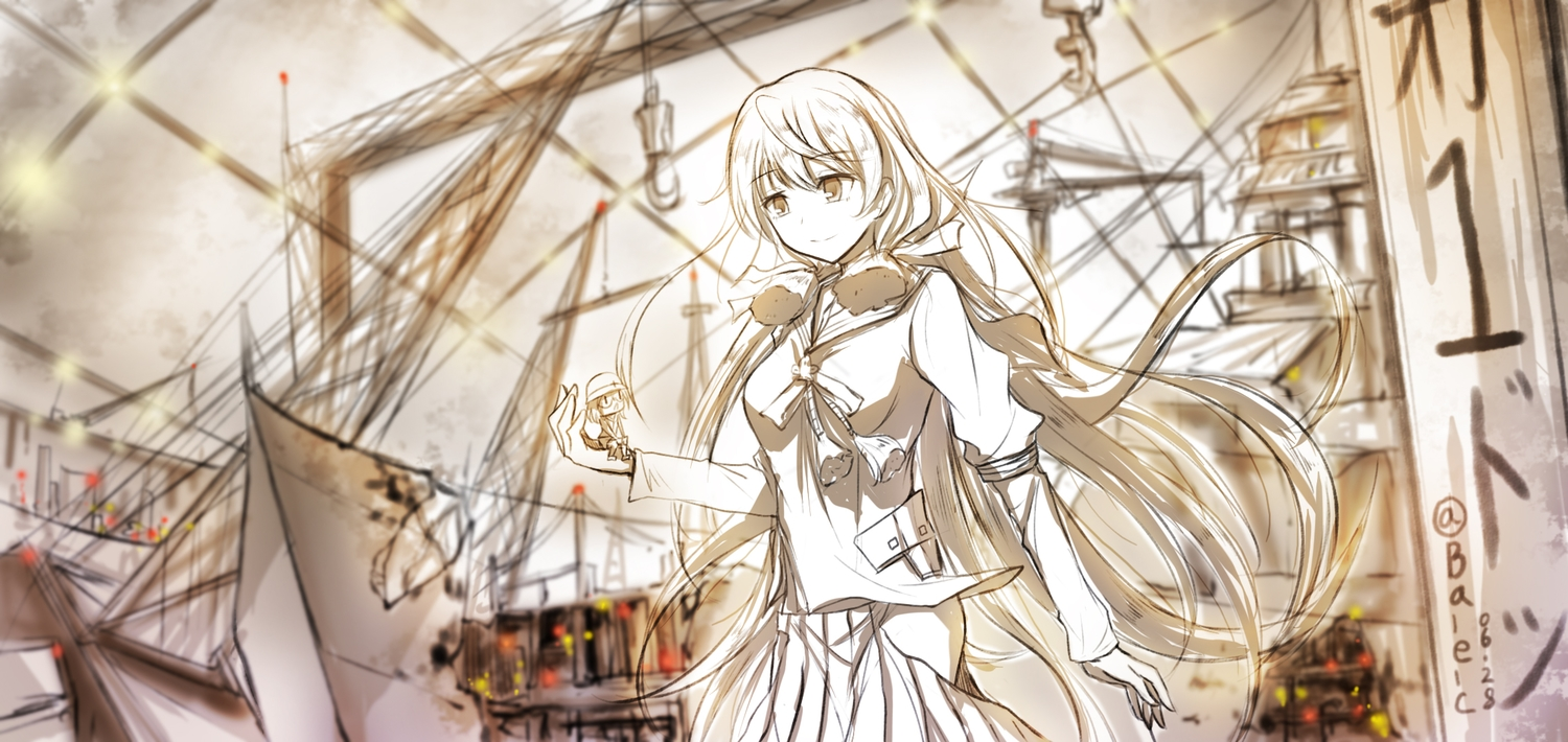 akashi_(kancolle) anthropomorphism boyogo industrial kantai_collection long_hair polychromatic signed sketch