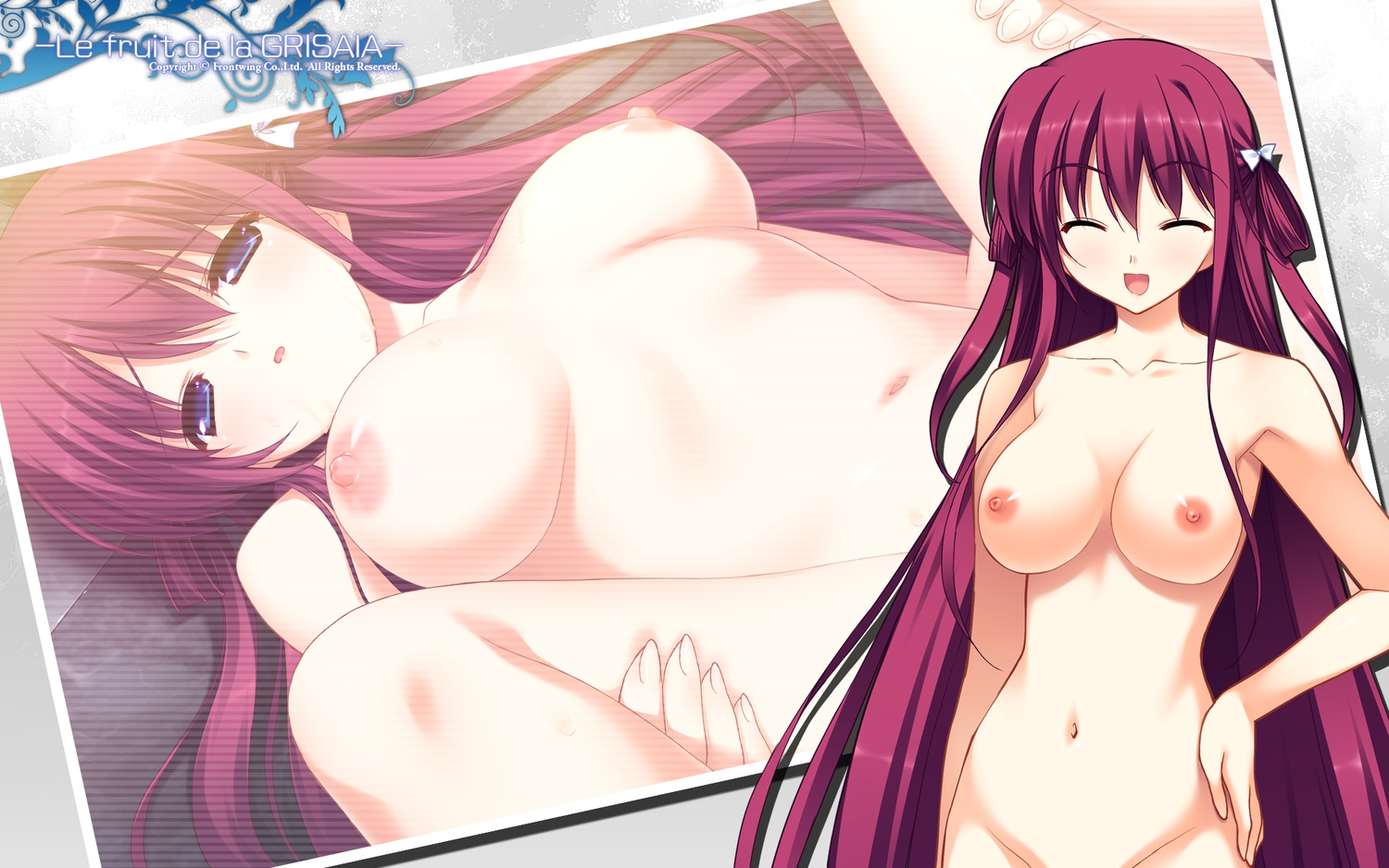 blue_eyes breasts front_wing fumio grisaia_no_kajitsu long_hair navel nipples nude red_hair suou_amane