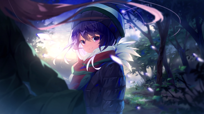 2girls anzi black_hair brown_hair close forest hat kagamihara_nadeshiko long_hair purple_eyes scarf shima_rin short_hair tree yuru_camp