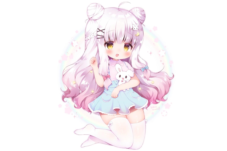 blush bow bunny gray_hair koma_momozu long_hair original rainbow skirt thighhighs white yellow_eyes zettai_ryouiki