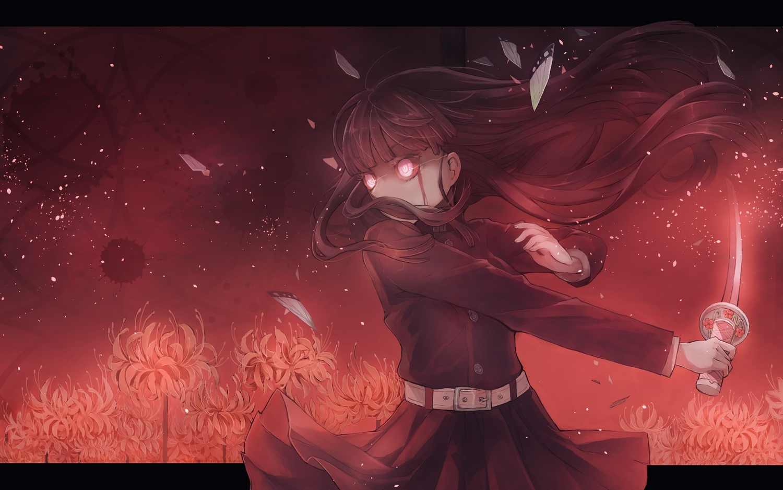 black_hair blood flowers jpeg_artifacts katana kimetsu_no_yaiba long_hair myaaco red red_eyes sword tsuyuri_kanao weapon