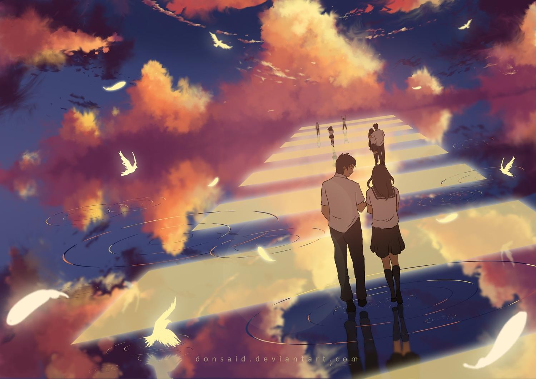 animal bird clouds donsaid hg hug long_hair male original reflection school_uniform short_hair skirt