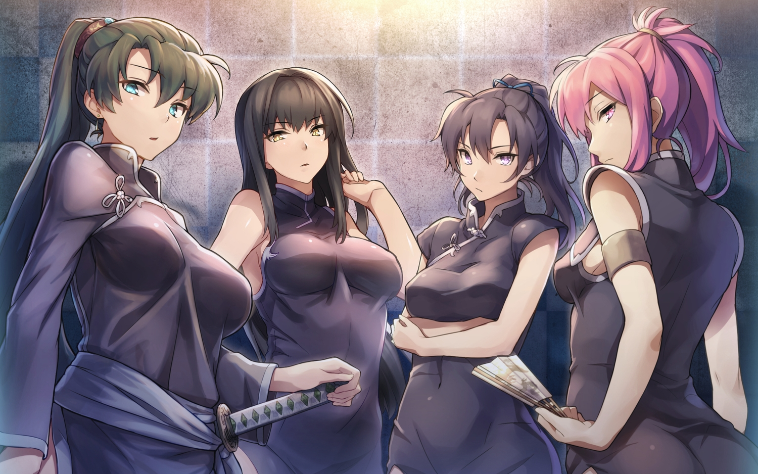 black_hair breasts brown_hair fan fire_emblem group karla_(fire_emblem) katana long_hair lyndis_(fire_emblem) marica_(fire_emblem) pink_hair ponytail ribbons shinon_(tokage_shuryou) sword tagme_(character) weapon