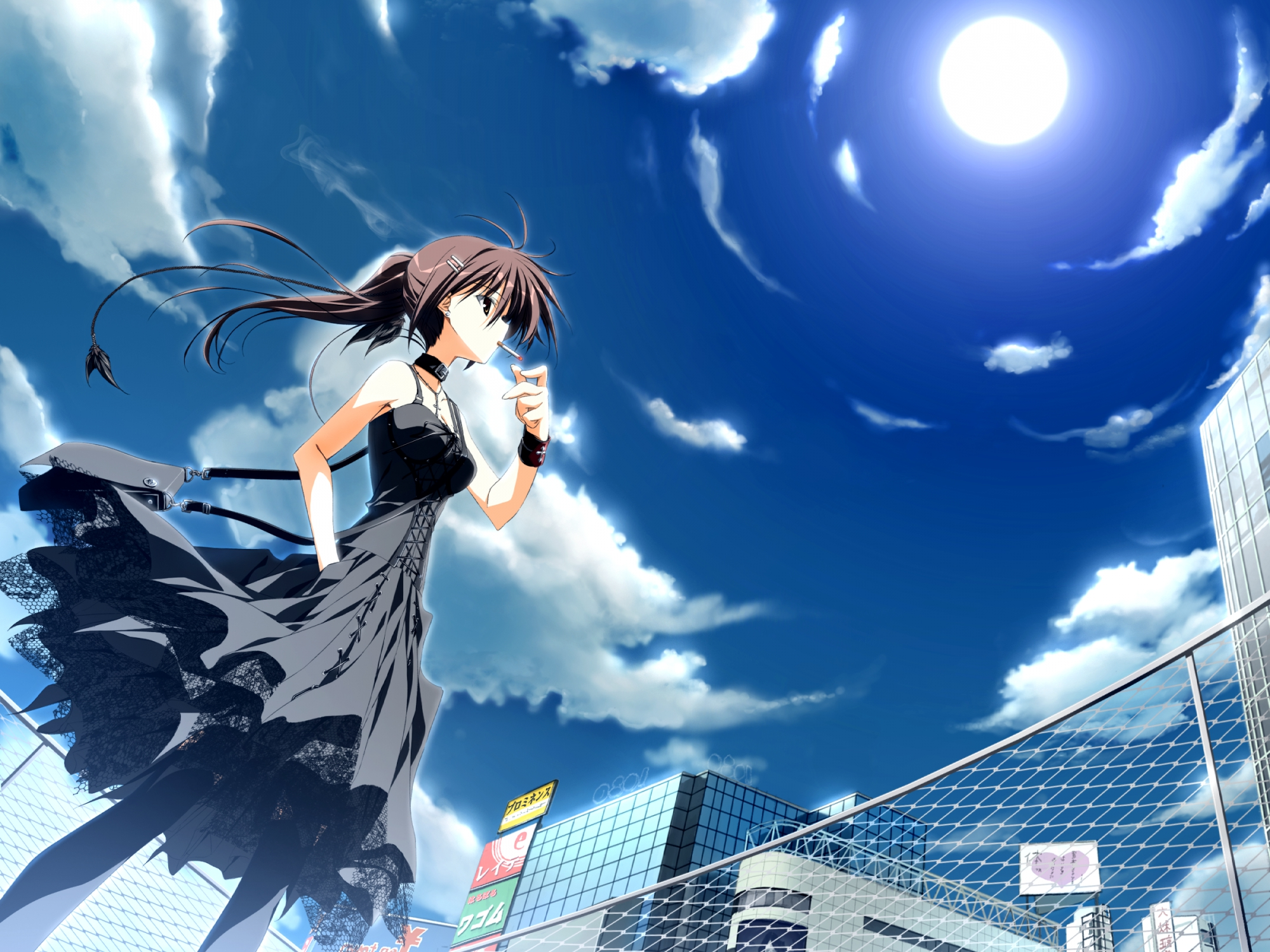brown_eyes brown_hair cigarette dress game_cg gothic kagome minakami_yuki necklace ponytail sky smoking subarashiki_hibi
