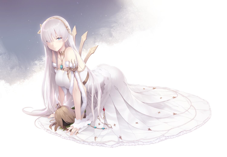 anastasia_(fate/grand_order) aqua_eyes cait dress fate/grand_order fate_(series) long_hair necklace white_hair