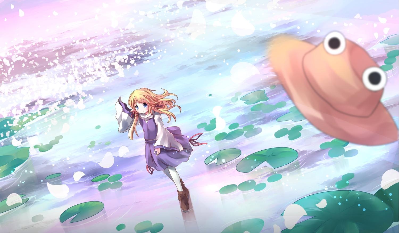 blonde_hair blue_eyes hat long_hair moriya_suwako pantyhose risutaru touhou