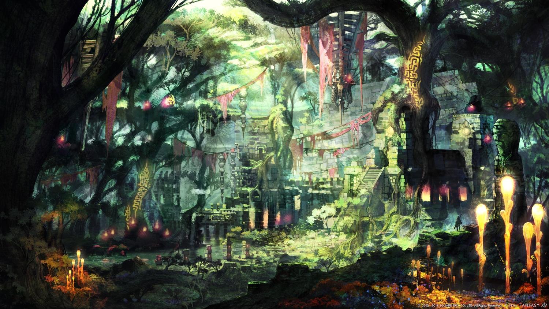 building final_fantasy final_fantasy_xiv forest ruins scenic square_enix tree watermark