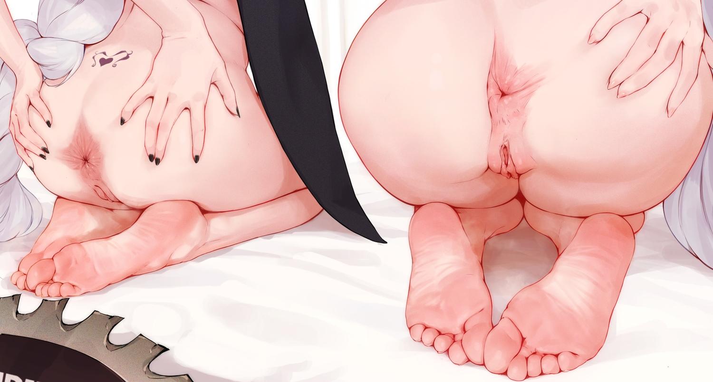 2girls anus arknights ass barefoot close nopan pussy rosaline skadi_(arknights) specter_(arknights) tattoo uncensored