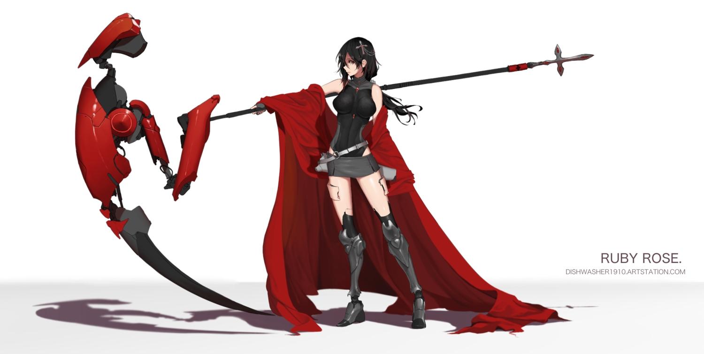 armor black_hair bodysuit dishwasher1910 gloves gray_eyes long_hair ponytail ruby_rose rwby scythe skirt techgirl watermark weapon white