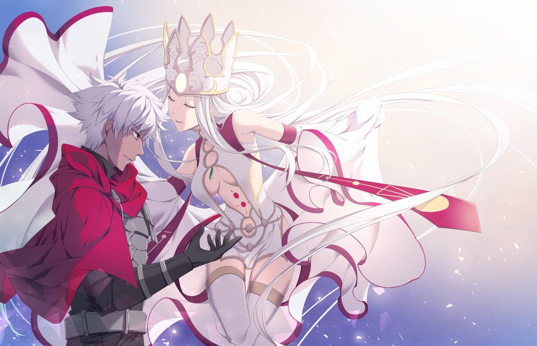 dress emiya_kiritsugu fate/grand_order fate_(series) irisviel_von_einzbern jh male red_eyes thighhighs underboob white_hair