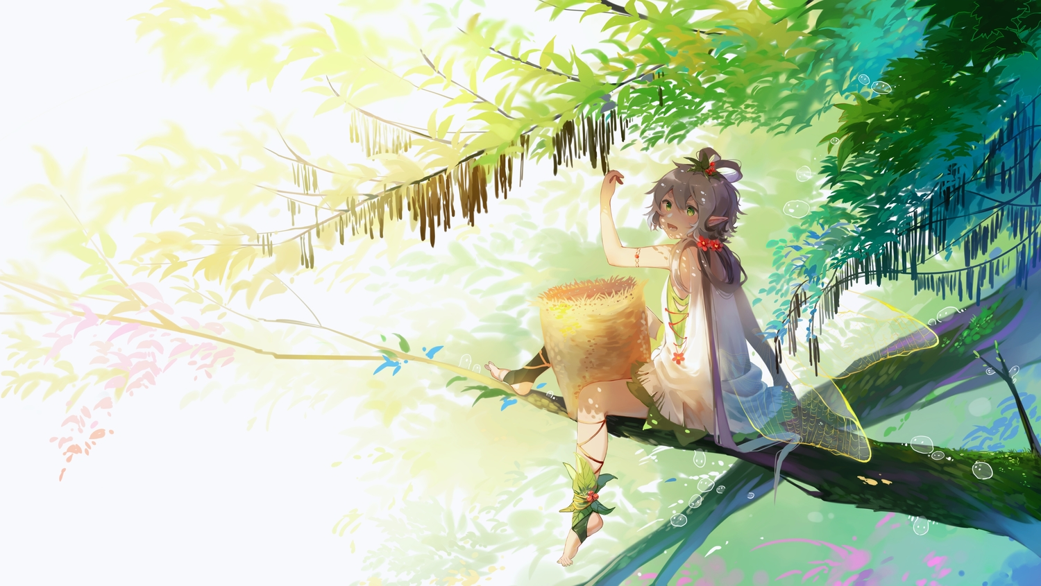 blush dress gray_hair green_eyes long_hair luo_tianyi pointed_ears stuko tree twintails vocaloid vocaloid_china wings
