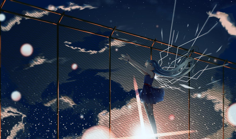 aqua_hair clouds dress hatsune_miku hinata_(uzukitten) long_hair moon sky stars twintails vocaloid yoake_to_hotaru_(vocaloid)
