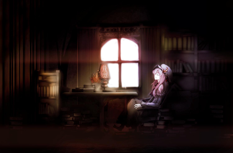 book dress hat patchouli_knowledge purple_hair touhou yoshioka_yoshiko