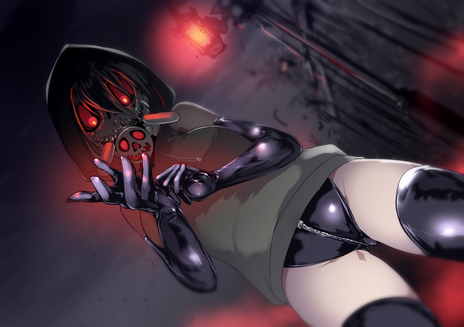 black_hair dark elbow_gloves gloves hoodie mask original ryuu_tou short_hair thighhighs