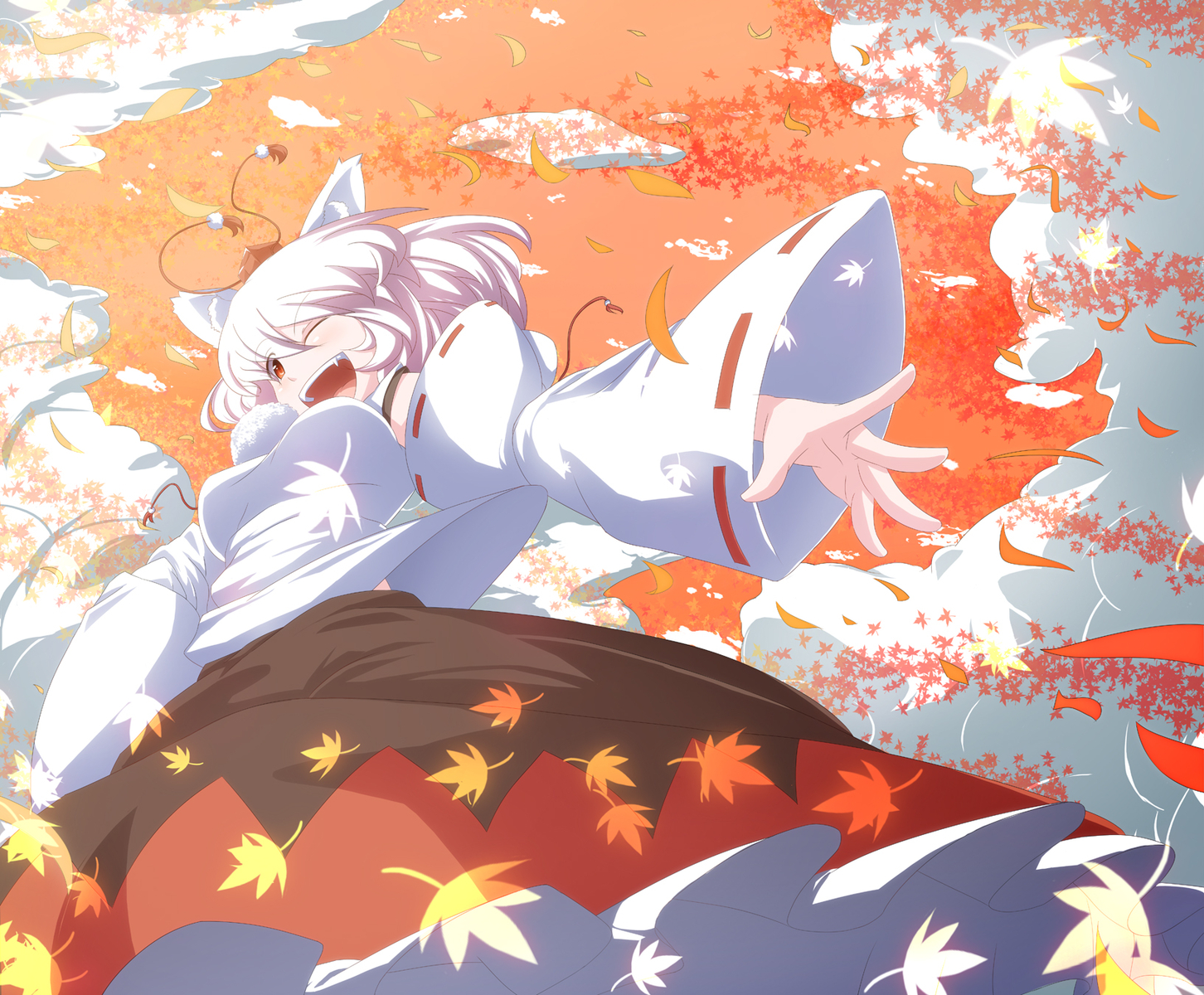 animal_ears autumn inubashiri_momiji meracle pink_hair touhou wink