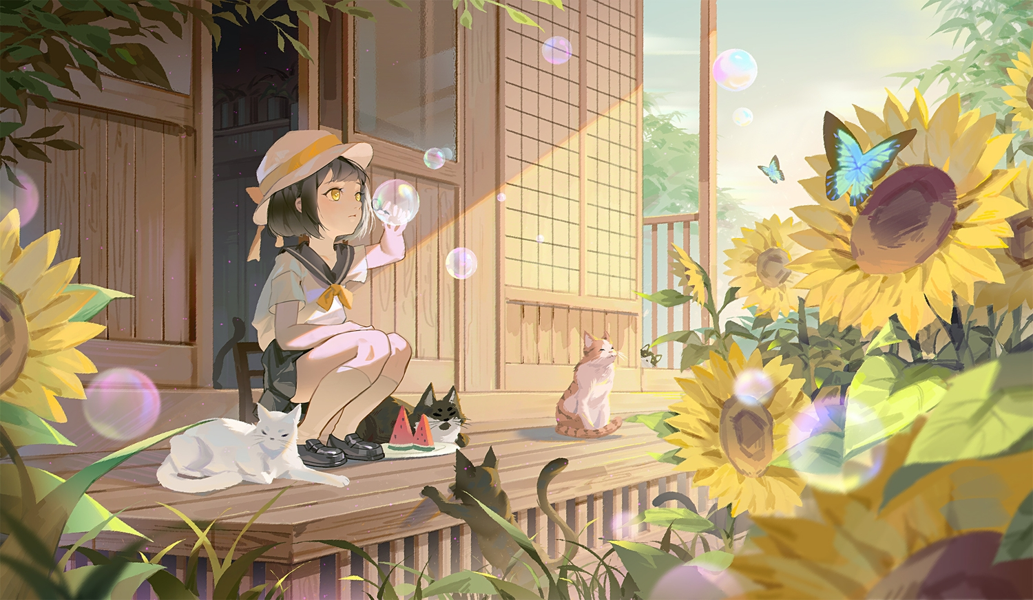 animal black_hair bubbles butterfly cat flowers food hat kneehighs lan-ge-zi loli original school_uniform short_hair sunflower yellow_eyes