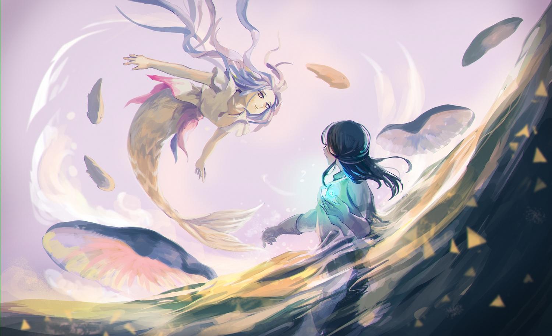2girls black_hair gray_hair imacomai long_hair mermaid original pixiv_fantasia water