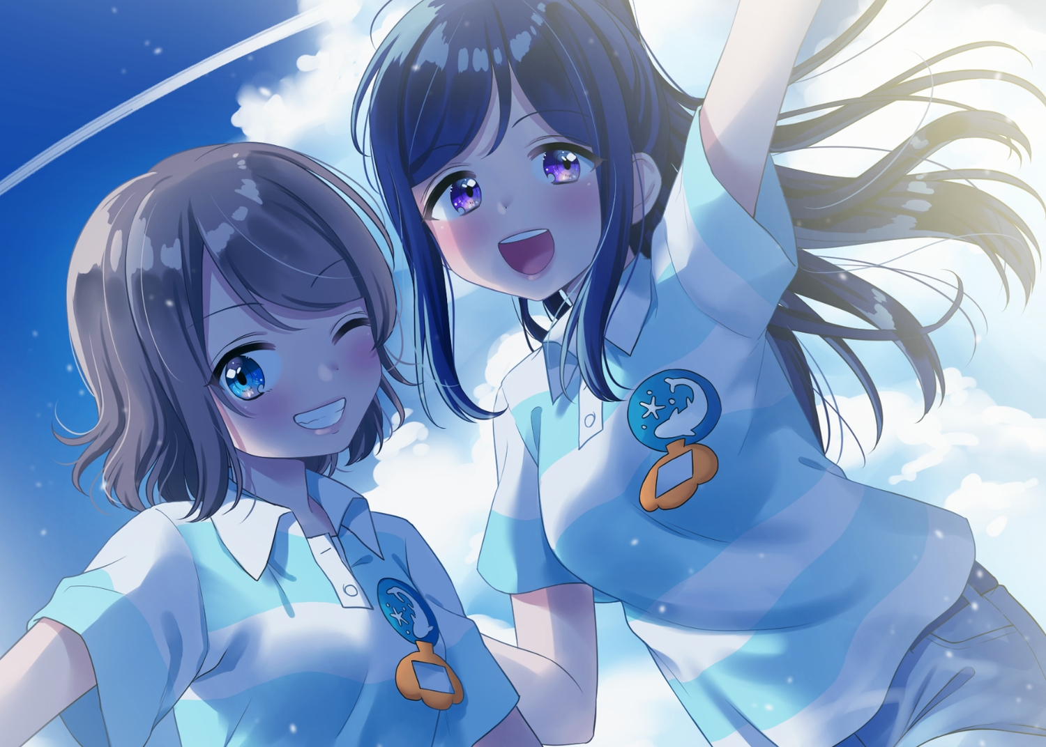 2girls aqua_eyes blue_hair brown_hair close clouds hina_(hinalovesugita) long_hair love_live!_school_idol_project love_live!_sunshine!! matsuura_kanan ponytail short_hair shorts sky uniform watanabe_you wink