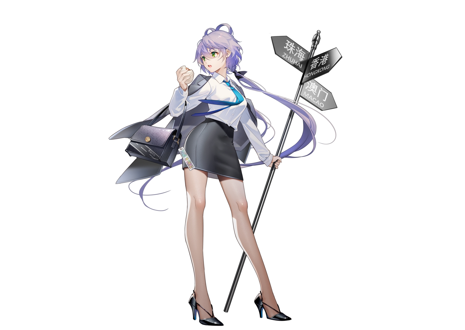 cape food green_eyes long_hair luo_tianyi purple_hair shirt skirt suit tidsean tie twintails vocaloid vocaloid_china white