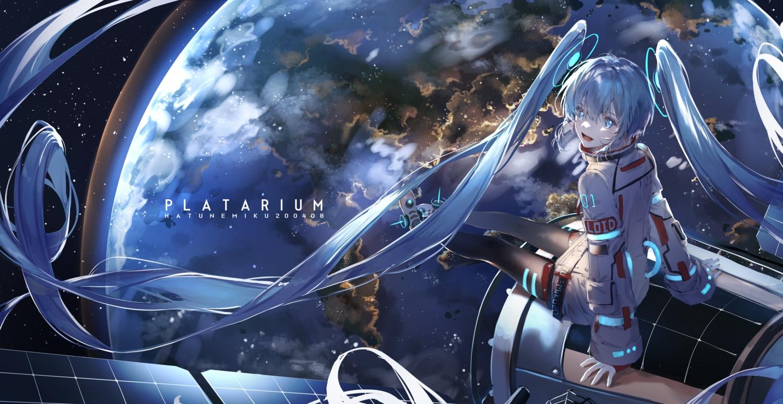 blue_eyes blue_hair earth hatachi8p hatsune_miku long_hair pantyhose planet space stars twintails vocaloid