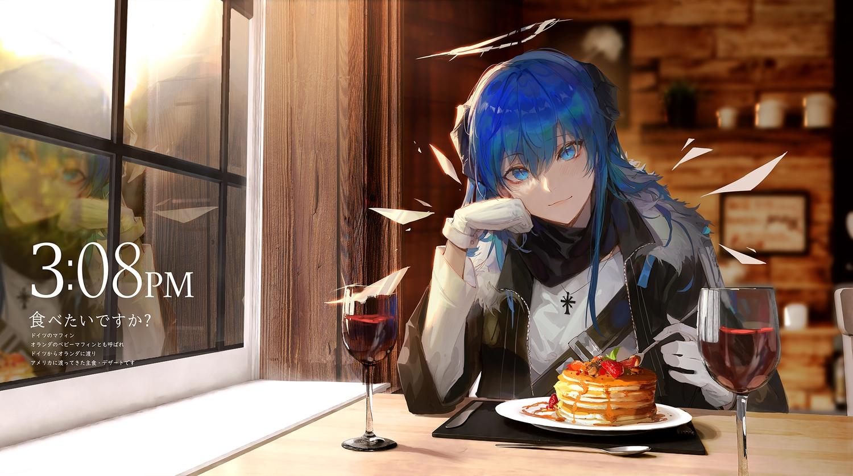 arknights blue_eyes blue_hair blush food gloves halo horns kuroduki mostima_(arknights)