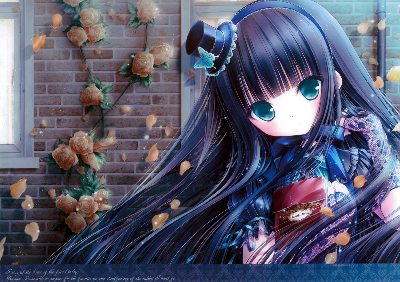 black_hair blue_eyes dress flowers gloves goth-loli hat loli lolita_fashion rose scan tinkle