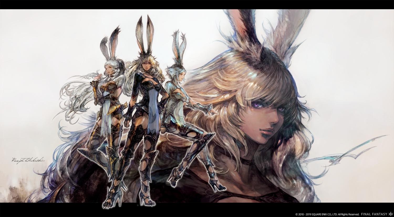 animal_ears armor breasts bunny_ears choker cleavage dark_skin final_fantasy final_fantasy_xiv gray_hair long_hair purple_eyes see_through short_hair square_enix takahashi_kazuya thighhighs viera watermark