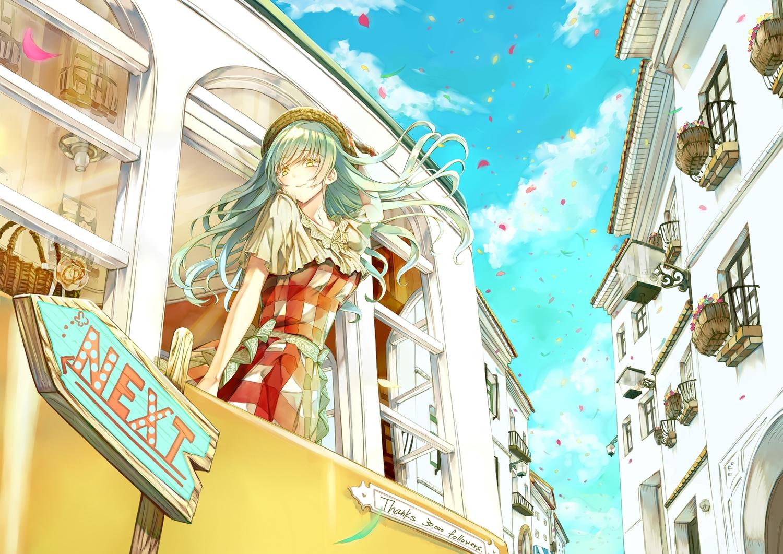 aqua_hair blush clouds hat long_hair original petals saijou_haruki sky yellow_eyes