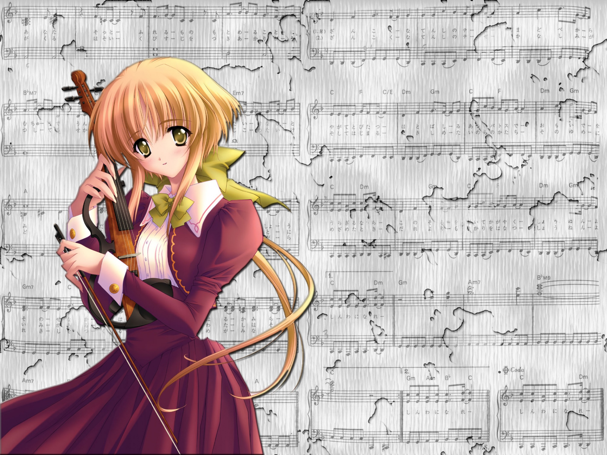 blonde_hair carnelian instrument violin yellow_eyes