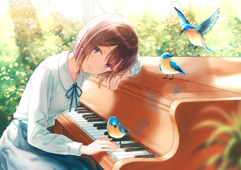 animal bird blush brown_hair hiten_goane_ryu instrument original piano purple_eyes shirt short_hair skirt