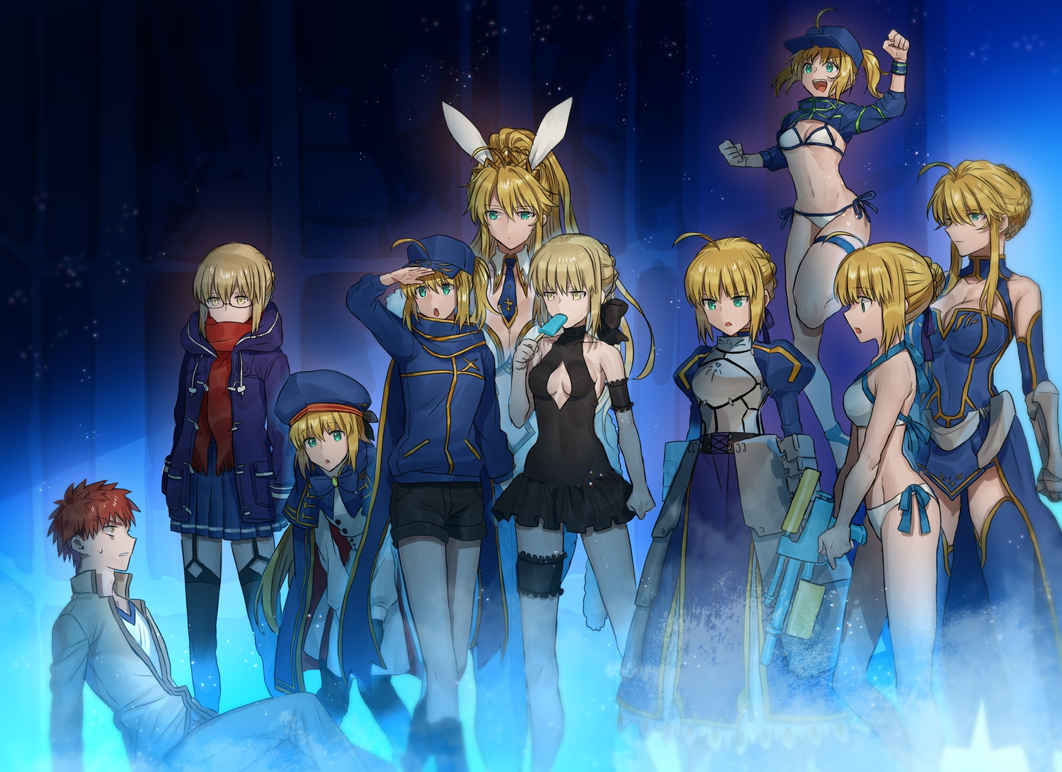 animal_ears aqua_eyes artoria_pendragon_(all) artoria_pendragon_(caster) artoria_pendragon_(lancer) blonde_hair breasts bunnygirl cleavage dress emiya_shirou fate/grand_order fate_(series) fate/stay_night glasses green_eyes group hat male mysterious_heroine_x mysterious_heroine_x_alter mysterious_heroine_xx_(foreigner) navel none_(kameko227) ponytail popsicle red_hair saber saber_alter scarf shirt_lift short_hair shorts skirt stockings thighhighs yellow_eyes zettai_ryouiki