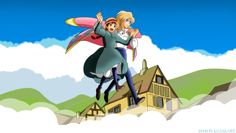 blonde_hair building clouds dress hat howl's_moving_castle kuzakawe_maron male sophie_hatter