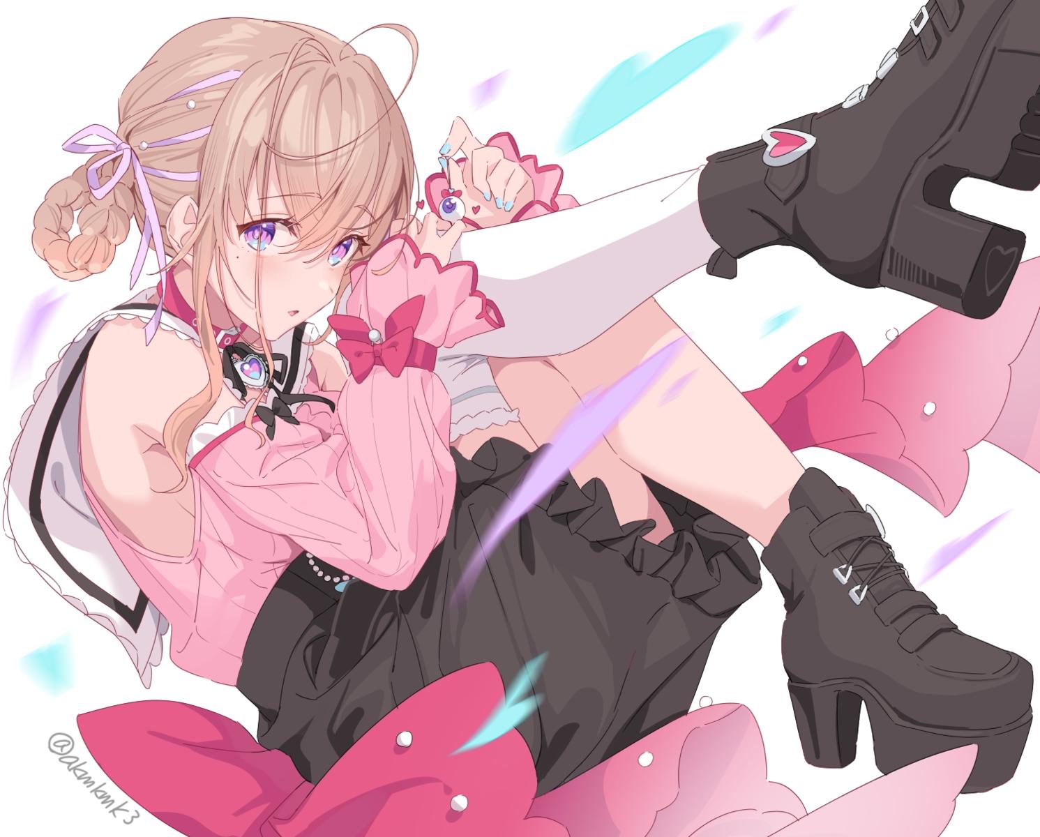 aizawa_momo akamoku blush boots bow brown_hair cape collar purple_eyes ribbons short_hair signed skirt thighhighs voice-ore